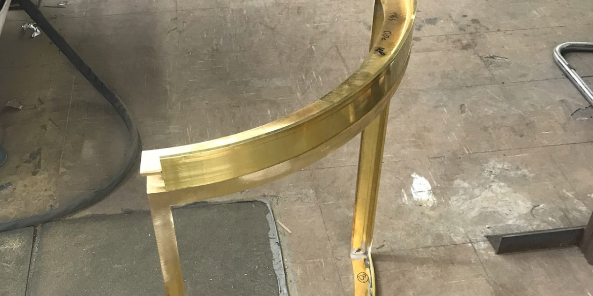 Curved bronze section before patination